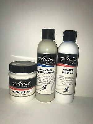 3 x Atelier mediums - Varnish, binder and gesso! new!