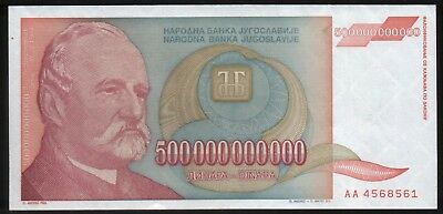 WORLD'S LARGEST BANKNOTE 500 Billion Dinars - Paper Money - Yugoslavia 1993