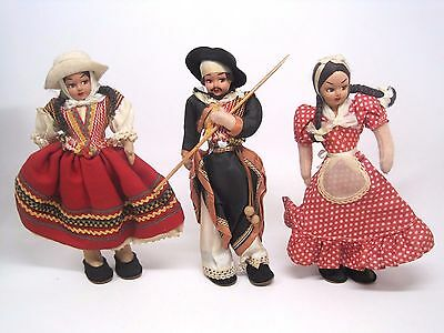 Vintage Lot of 3 Peruvian Andean Folk Art Free Standing Male Female Cloth Doll