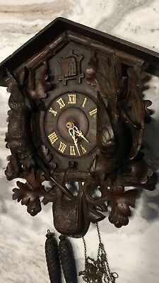 Rare Large Antique Gordian Hettich and Son Cuckoo clock Black forest Germany