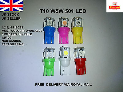 T10 501 Car Bulbs 5 Led Side Light Bulb Lamps Smd Xenon White W5W  Interior 12V
