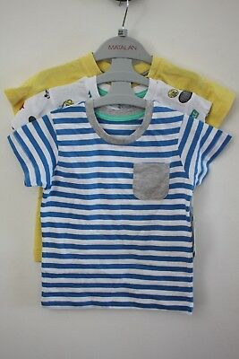 Matalan Baby Boys Stripe. Plain & Sports Pack of 3 T-Shirts