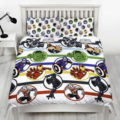 Adults Childrens Comic Heroes Marvel Avengers Double Duvet Cover Pillow Case Set