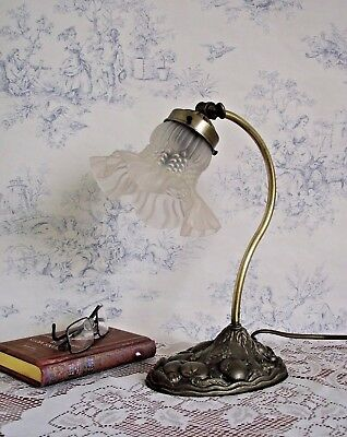 Lovely Vintage Goose Neck Lamp With Decorative Base and Frilled Glass Shade 637