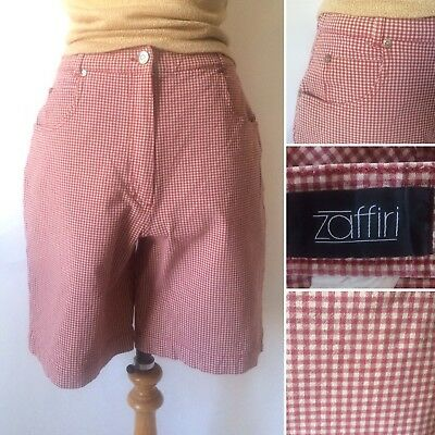 Vintage 1980s 1990s High Waisted Red Checked Mid Length Shorts Size Med 12 14