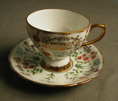 VINTAGE ROYAL SEALY CO MOTHER TEA CUP & SAUCER - MADE IN JAPAN - FLORAL - 27 sb