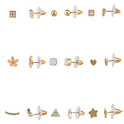 Lux Accessories Gold Tone Assorted Designs Flower Stars Shapes Earring Set of 9