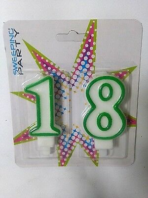 CANDELINA NUMERO 18 ANNI 2 pezzi 8 cm FESTA PARTY Happy Birthday