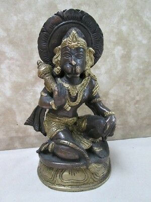 "Vintage HINDU STATUE, NARSIMHA Lion Head GOD,Brass,Bronze,6 1/4"" Tall"