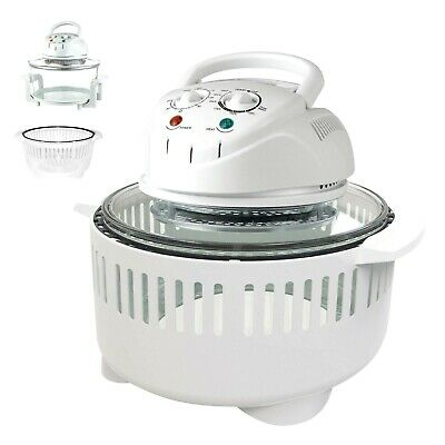 17L Halogen Oven Cooker & Extender Ring Grill Roast Bake 1400W WHITE