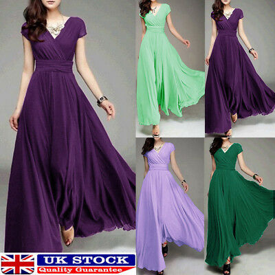 Women Long Formal Evening Party Bridesmaid Chiffon Ball Gown Cocktail Dress 34