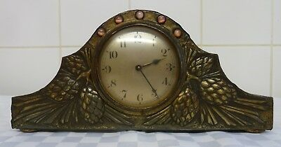 Vintage Hand Made Pewter Covered Mantle Clock