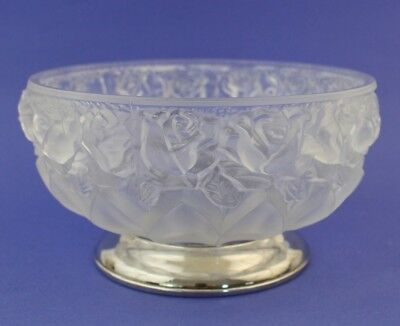 Vintage William Adams Towle Silver Plate Footed Rose Frosted Glass Serving Bowl