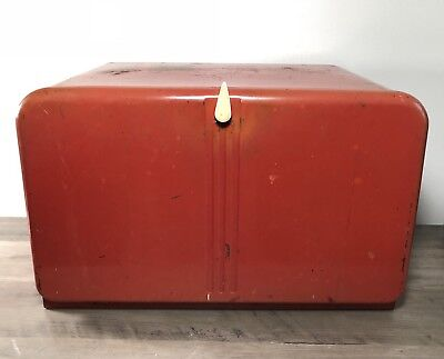 Vintage Red Metal Lincoln Beauty Box Bread Box with Cutting Board