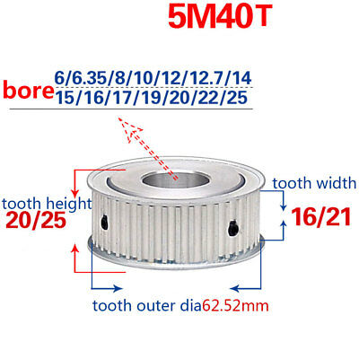 HTD-5M-40T-16/21W Bore 6/6.35/8/10/12/15/25mm Pitch 5mm Timing Belt Drive Pulley