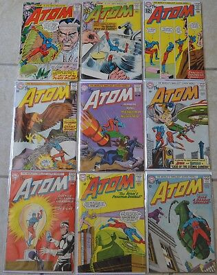 LOT OF 9 THE ATOM COMIC BOOKS (DC, 1962) #1 (1st PLANT MATER) #2,#4-10