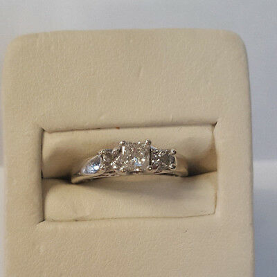 Gorgeous Well Made 14KT White Gold Ring With Nice Princess Cut Diamonds