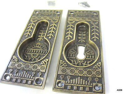 "2pc Antique Bronze Unique Design Keyole Cover Set 5.25"" x 2"", Made in India"