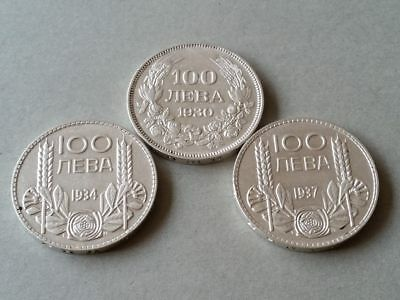 ANTIQUE LOT OF ALL 3 large SILVER coins KING BORIS III 100 leva 1930 1934 1937