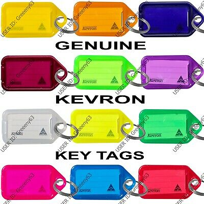 KEVRON Plastic Key Click Tags Labels Assorted Colours Fobs Card ID Heavy Duty