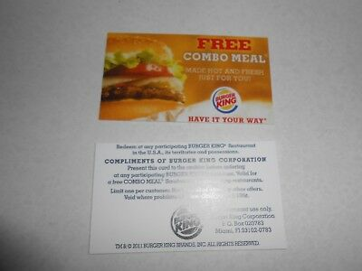 Lot of 10 burger king combo meal cards