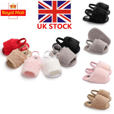 Toddler Baby Girl Soft Sole Shoes Plush Slide Sandal Anti-slip Crib Shoes Size