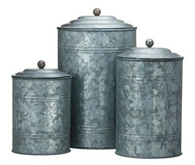 Antique Style Galvanized Tin Canister Set/3 Container Old world Rustic Kitchen