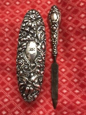 "STERLING VANITY BRUSH ~ 4 1/4"" ~ & NAIL FILE Sterling 2 Pc Set REPOUSSE"