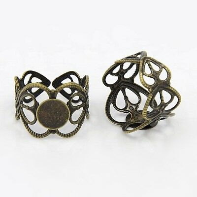 10 Ring Blanks Antiqued Bronze Filigree Band Brass Settings Adjustable