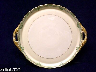 Vtg Cake Plate K & A Krautheim Selb Bavaria Germany Double Handle Two Tone Cream