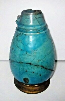 Ancient Egyptian Faience Vessel Turquoise Blue Glazed Pottery Vase Ewer Jug