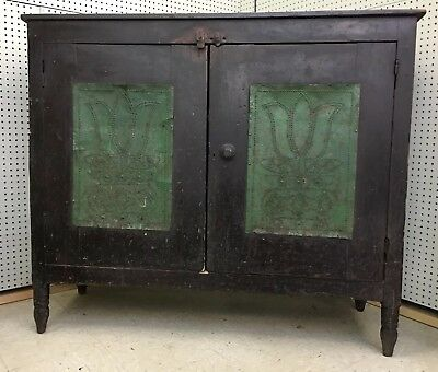 1800s Wythe County Virginia Pie Safe Original Surface - Tulip Punched Tins