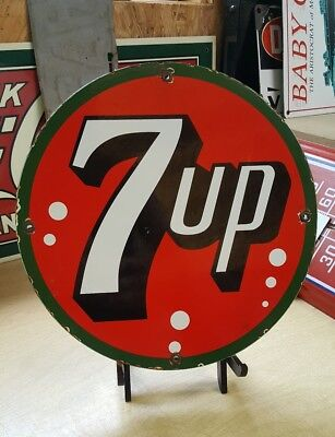 7up porcelain sign vintage cola brand vending machine soda pepsi fountain bottle