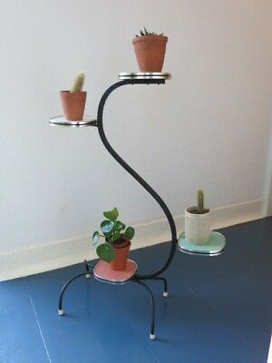 Vintage 50s Mid Century German Modernist Rockabilly Atomic Metal Plant Stand