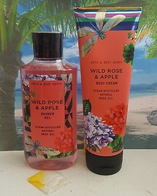 bath and body works wild rose & apple shower gel and body cream