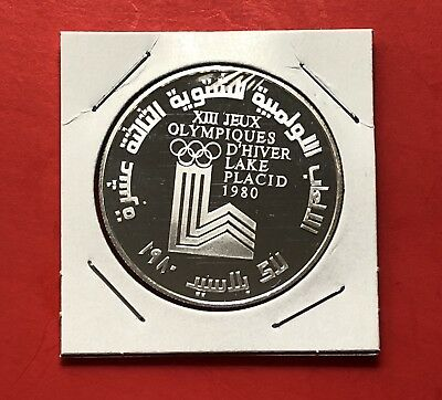 Lebanon-10 Livre Silver Proof Coin,winter Olympic 1980..uncirculated Condition .