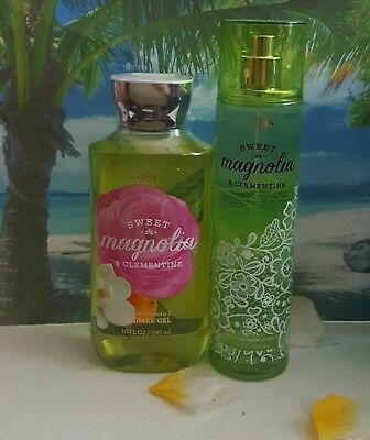 bath and body works sweet magnolia & clementine shower gel and fine fragrance