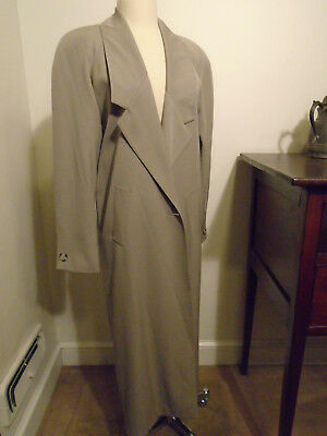 Vintage Linda Richards Womens Maxi Coat 100% Wool Long Pleat One Button Front