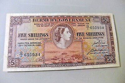 1952 Bermuda Government Five Shillings Note - VF20