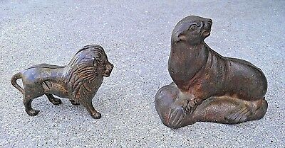 """2 For 1 Vintage Cast Iron """"seal On Rock"""" & Small Lion Bank Original Nice 2 For 1"""