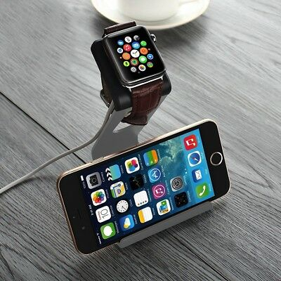 Gray TPU Aluminum Stand Charging Holder Rack For iPhone Apple Watch2015 38/42mm