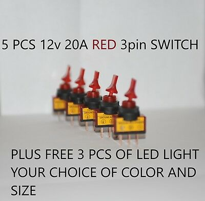 12v switch rocker 5x 20A Car Truck Boat Red LED Light Toggle  3Pin SPST ON/OFF