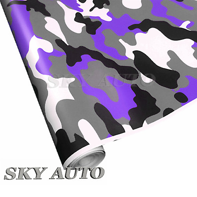ce967a4ac5 Purple Black White Gray Camo Camouflage Vinyl Car Wrap Film Sheet + Free  Tools