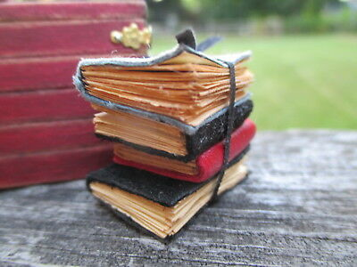 Dollhouse Miniatures ~ 4 Leather Covered Books with Black Leather Tie ~ Aged