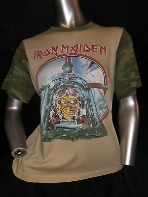 da6bba5e *LOWERED* 1984 Vintage Iron Maiden Camo Sleeve Aces High Powerslave Tour  T-Shirt