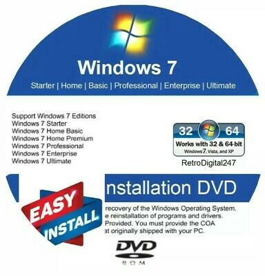 Windows 7 Home Premium 32/64 Bit Install DVD Plus Bonus Driver Disc Included!