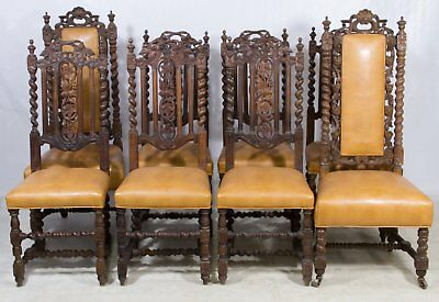 19th C Antique EIGHT Jacobean Carved Dining Table Chairs, c 1880