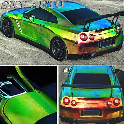(1FT x 4.5FT) Holographic Rainbow Green Neo Chrome Car Vinyl Wrap
