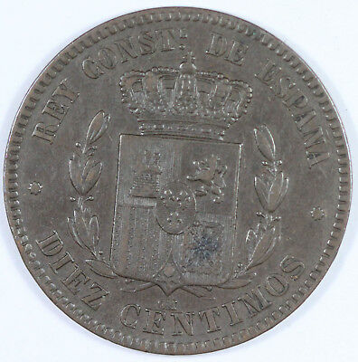 Spain. 1877 OM 10 Centimos, near Extremely Fine