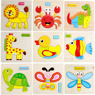 Lovely Children Favourite Wooden Puzzles Number 1-9 each with Cartoon Animal Woo